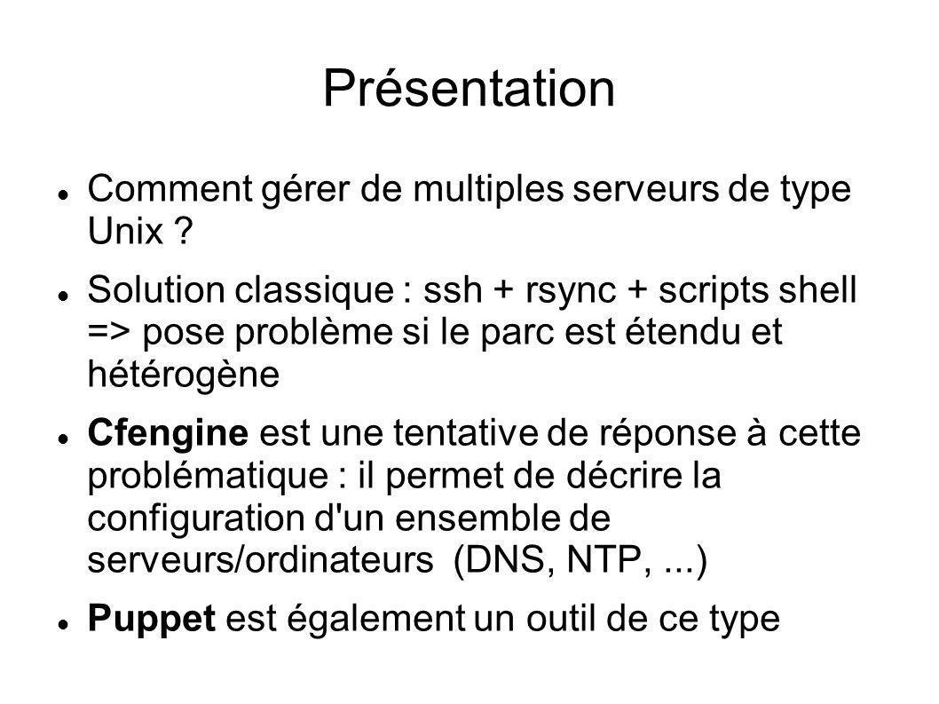 Facter : exemple de sortie marge:~# facter architecture => i386 domain => lecastel.lan facterversion => 1.5.1 fqdn => marge.lecastel.lan hardwaremodel => i686 hostname => marge interfaces => eth0,venet0 ipaddress => 172.16.0.2 ipaddress_eth0 => 172.16.0.2 kernel => Linux kernelrelease => 2.6.24-7-pve kernelversion => 2.6.24 macaddress => 00:18:51:af:57:20