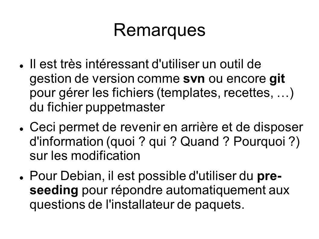 Remarques Il est très intéressant d'utiliser un outil de gestion de version comme svn ou encore git pour gérer les fichiers (templates, recettes, …) d