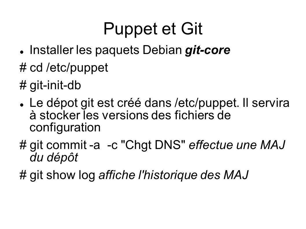 Puppet et Git Installer les paquets Debian git-core # cd /etc/puppet # git-init-db Le dépot git est créé dans /etc/puppet. Il servira à stocker les ve