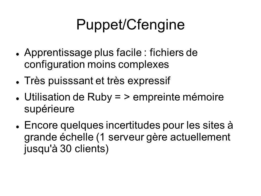 Puppet/Cfengine Apprentissage plus facile : fichiers de configuration moins complexes Très puisssant et très expressif Utilisation de Ruby = > emprein