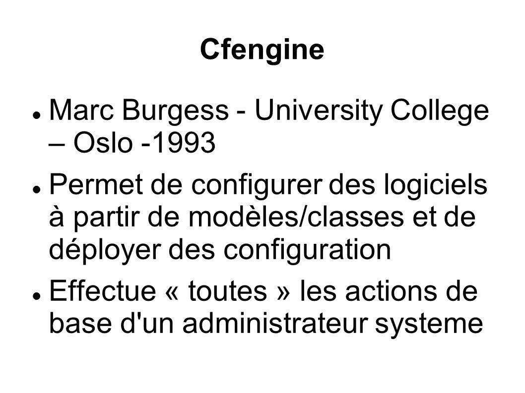 Cfengine Marc Burgess - University College – Oslo -1993 Permet de configurer des logiciels à partir de modèles/classes et de déployer des configuratio