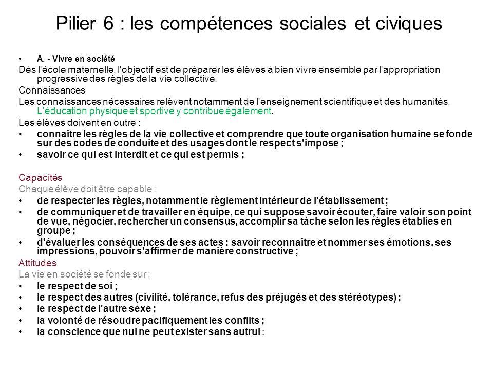Pilier 6 : les compétences sociales et civiques A.