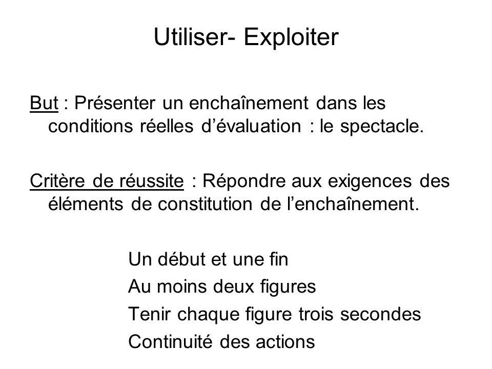 Utiliser- Exploiter But : Présenter un enchaînement dans les conditions réelles dévaluation : le spectacle.