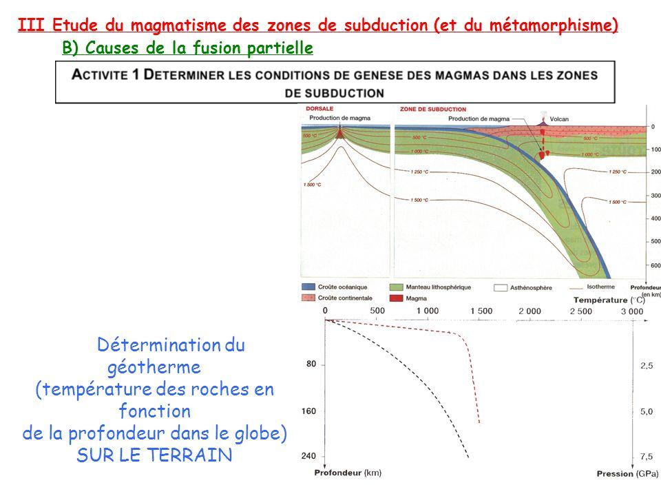 III Etude du magmatisme des zones de subduction (et du métamorphisme) B) Causes de la fusion partielle Détermination du géotherme (température des roc