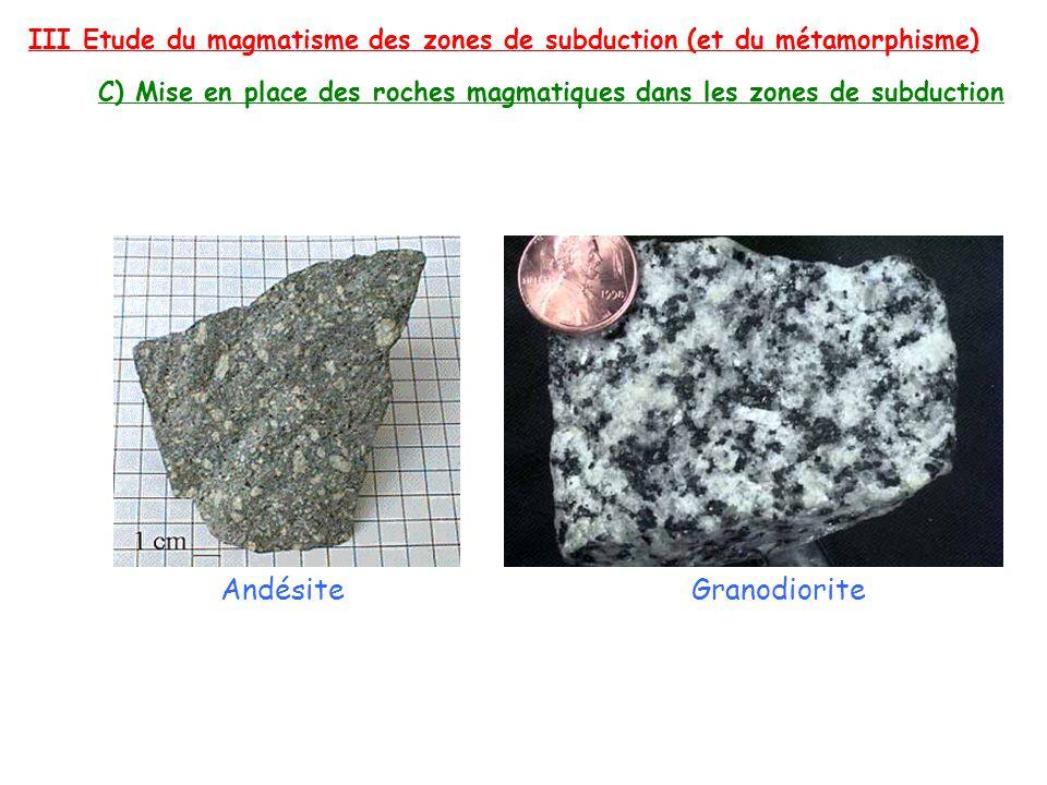 III Etude du magmatisme des zones de subduction (et du métamorphisme) C) Mise en place des roches magmatiques dans les zones de subduction AndésiteGra