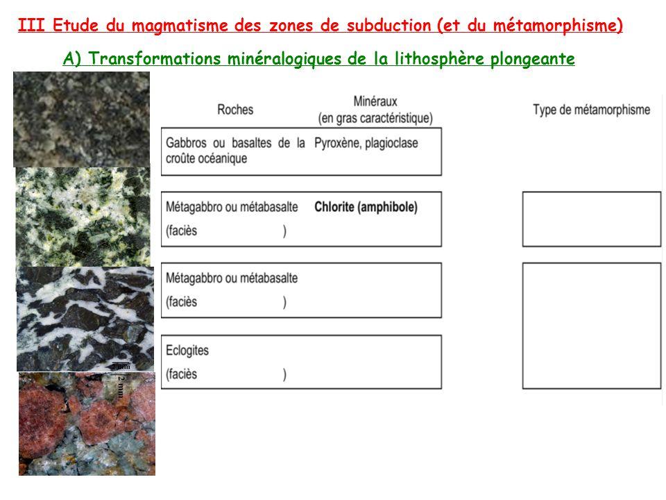 III Etude du magmatisme des zones de subduction (et du métamorphisme) A) Transformations minéralogiques de la lithosphère plongeante