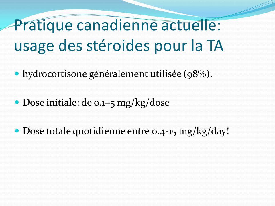 Pratique canadienne actuelle: usage des stéroides pour la TA hydrocortisone généralement utilisée (98%).