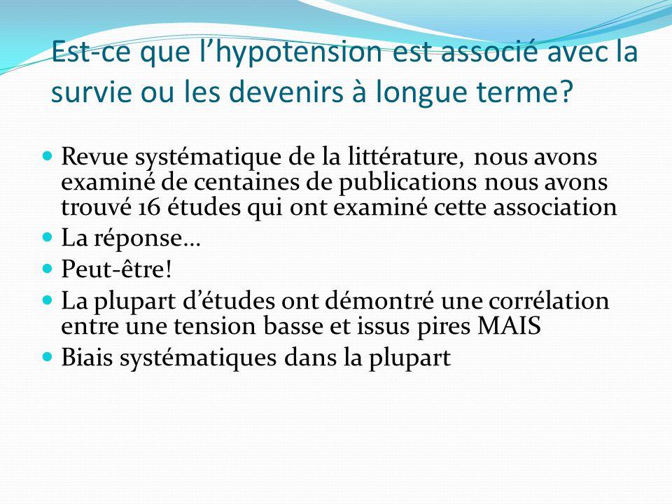 Est-ce que lhypotension est associé avec la survie ou les devenirs à longue terme.