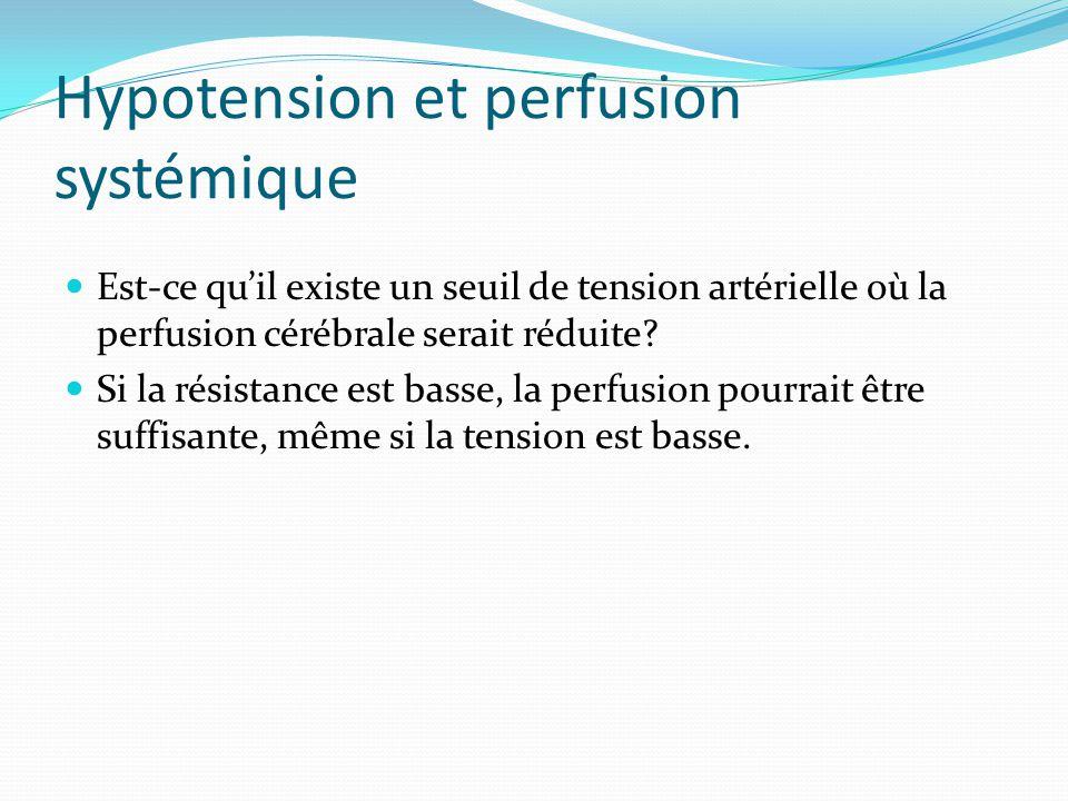 Hypotension et perfusion systémique Est-ce quil existe un seuil de tension artérielle où la perfusion cérébrale serait réduite.