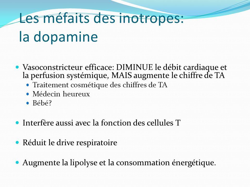 Les méfaits des inotropes: la dopamine Vasoconstricteur efficace: DIMINUE le débit cardiaque et la perfusion systémique, MAIS augmente le chiffre de TA Traitement cosmétique des chiffres de TA Médecin heureux Bébé.