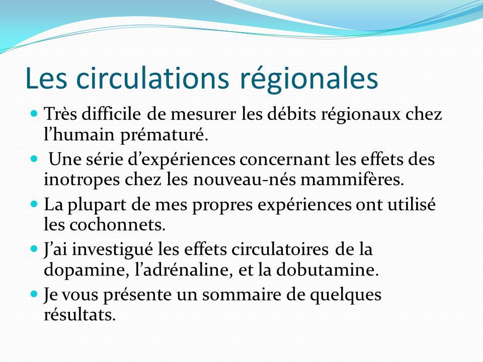 Les circulations régionales Très difficile de mesurer les débits régionaux chez lhumain prématuré.