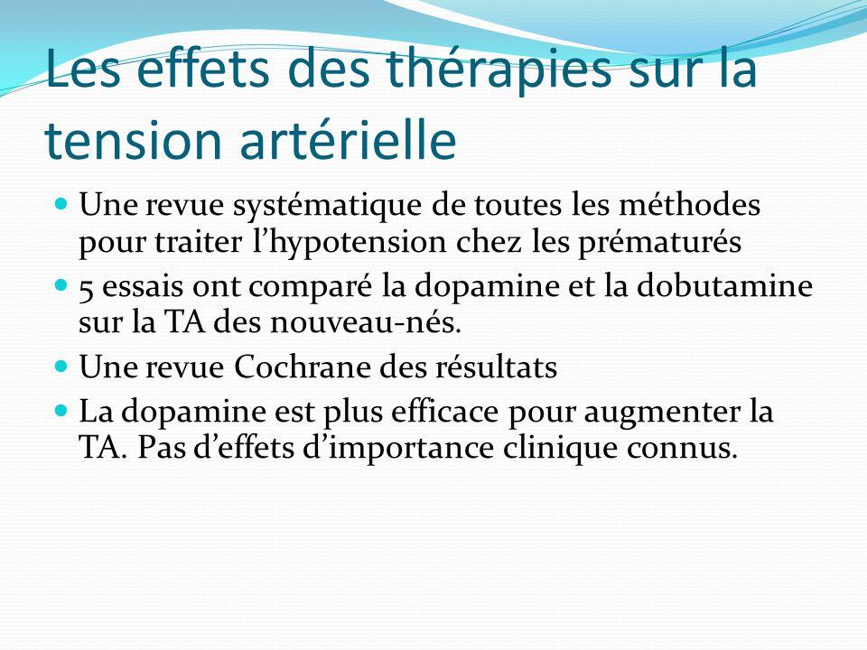 Les effets des thérapies sur la tension artérielle Une revue systématique de toutes les méthodes pour traiter lhypotension chez les prématurés 5 essais ont comparé la dopamine et la dobutamine sur la TA des nouveau-nés.