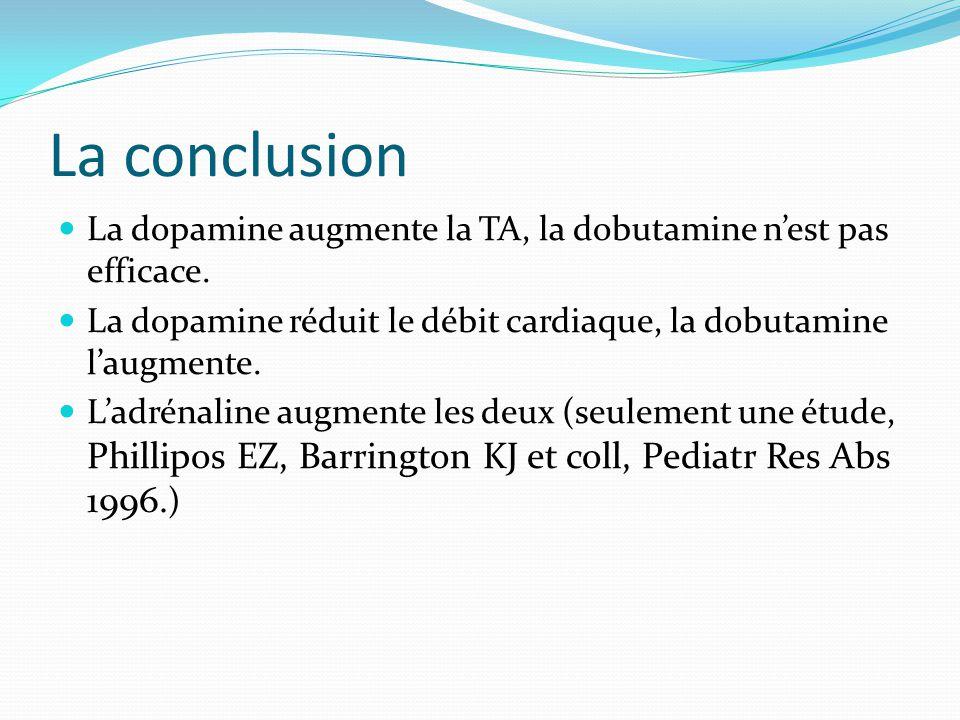 La conclusion La dopamine augmente la TA, la dobutamine nest pas efficace.