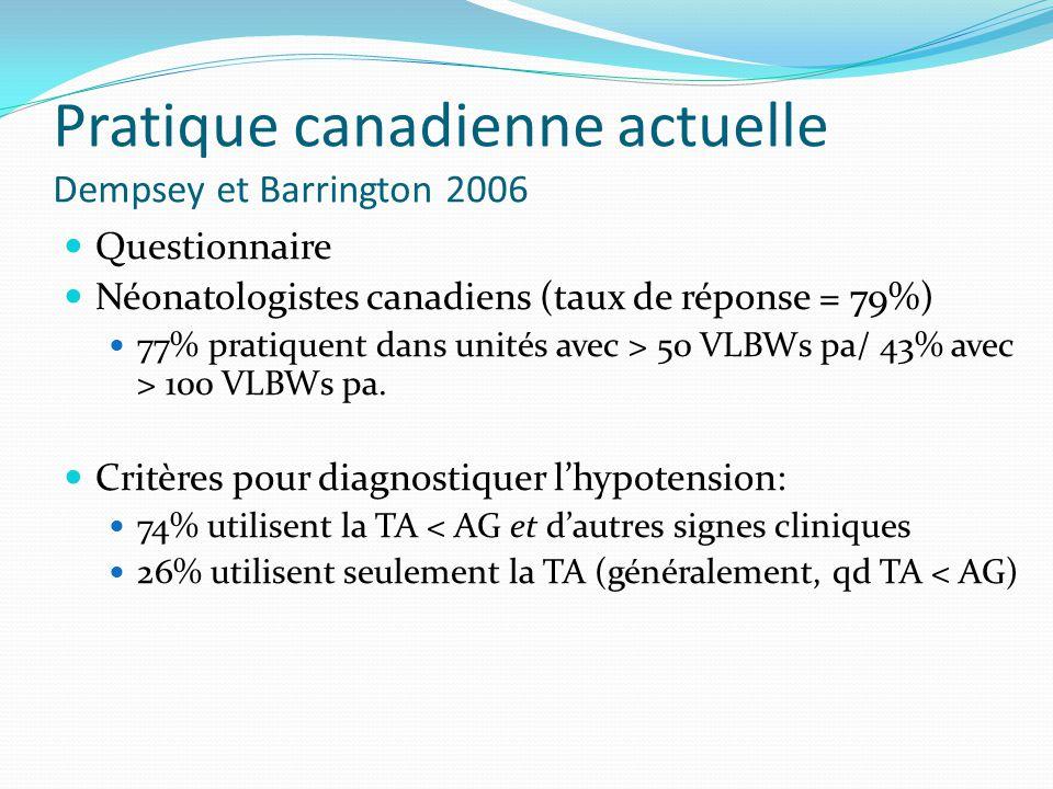 Pratique canadienne actuelle Dempsey et Barrington 2006 Questionnaire Néonatologistes canadiens (taux de réponse = 79%) 77% pratiquent dans unités avec > 50 VLBWs pa/ 43% avec > 100 VLBWs pa.
