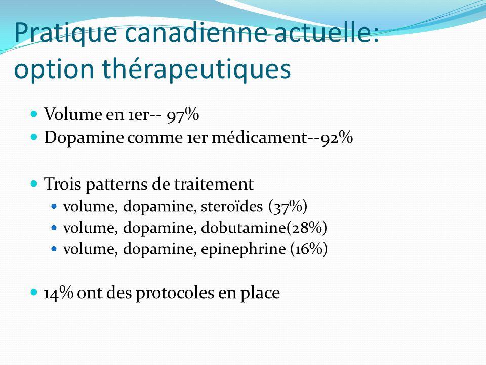 Pratique canadienne actuelle: option thérapeutiques Volume en 1er-- 97% Dopamine comme 1er médicament--92% Trois patterns de traitement volume, dopamine, steroïdes (37%) volume, dopamine, dobutamine(28%) volume, dopamine, epinephrine (16%) 14% ont des protocoles en place