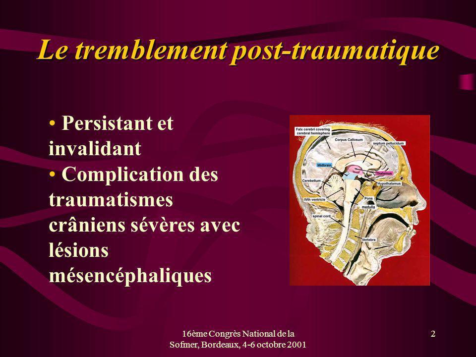 16ème Congrès National de la Sofmer, Bordeaux, 4-6 octobre 2001 3 Stimulation thalamique et tremblement Chirurgie stéréotaxique Cible = VIM du thalamus Efficacité démontrée dans le tremblement parkinsonien Efficacité dans le tremblement mésencéphalique encourageante, mais à confirmer