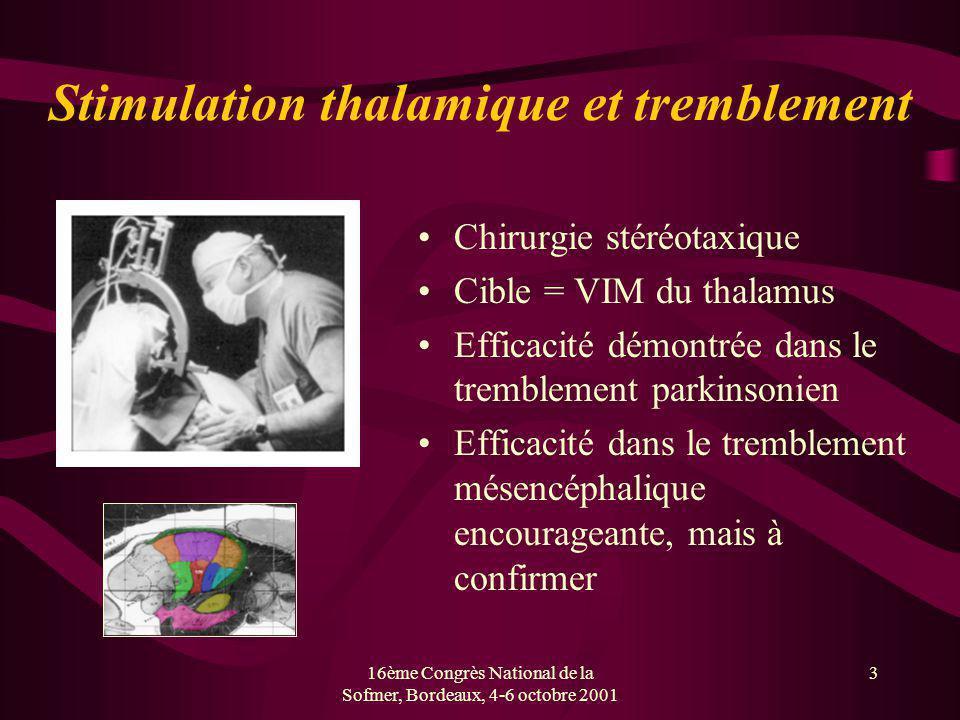 16ème Congrès National de la Sofmer, Bordeaux, 4-6 octobre 2001 3 Stimulation thalamique et tremblement Chirurgie stéréotaxique Cible = VIM du thalamu