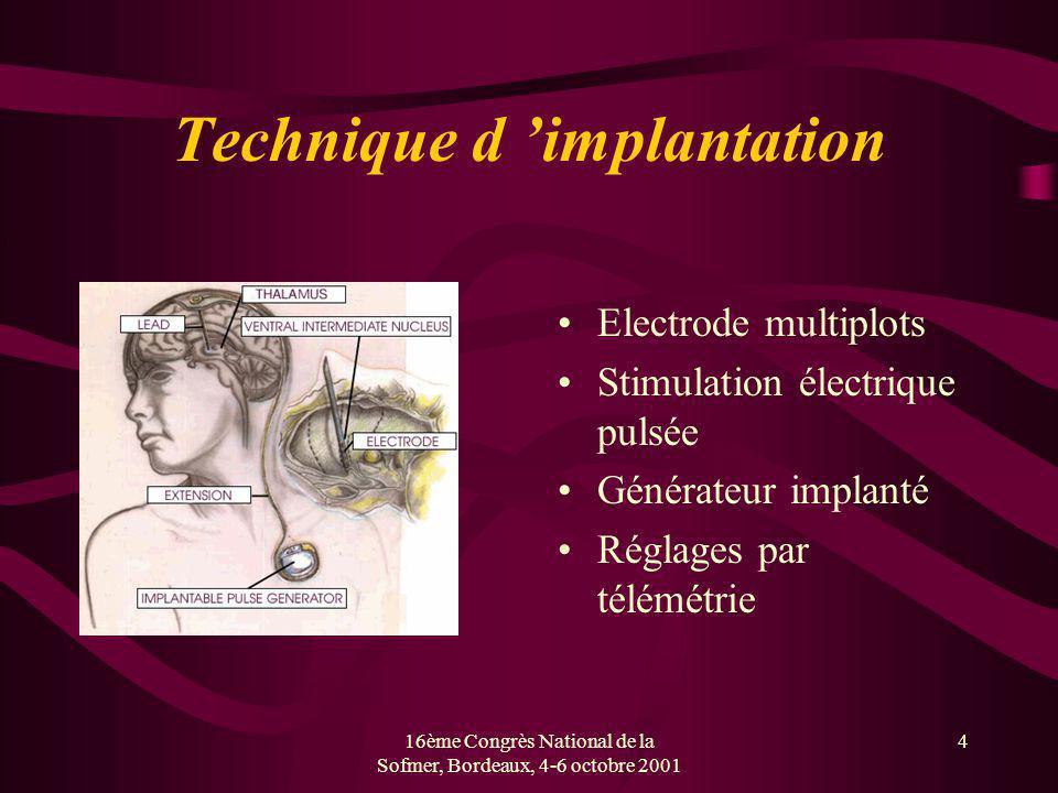 16ème Congrès National de la Sofmer, Bordeaux, 4-6 octobre 2001 4 Technique d implantation Electrode multiplots Stimulation électrique pulsée Générate