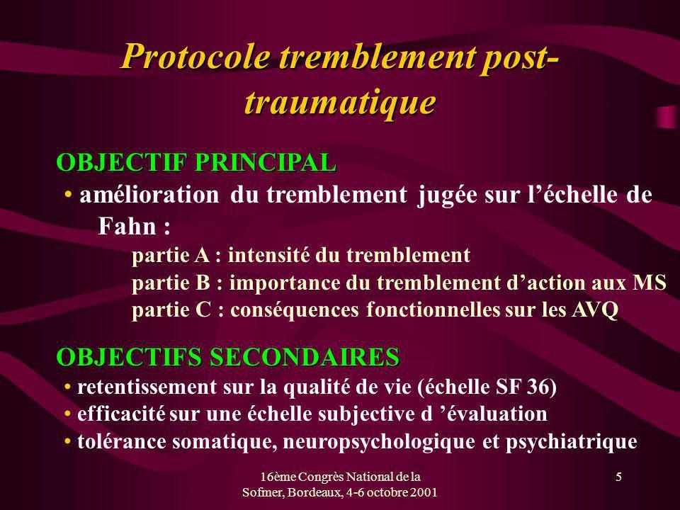 16ème Congrès National de la Sofmer, Bordeaux, 4-6 octobre 2001 5 Protocole tremblement post- traumatique OBJECTIF PRINCIPAL OBJECTIF PRINCIPAL amélio