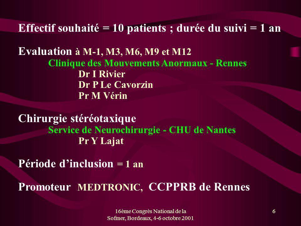 16ème Congrès National de la Sofmer, Bordeaux, 4-6 octobre 2001 6 Effectif souhaité = 10 patients ; durée du suivi = 1 an Evaluation à M-1, M3, M6, M9
