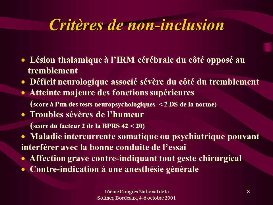 16ème Congrès National de la Sofmer, Bordeaux, 4-6 octobre 2001 8 Critères de non-inclusion Lésion thalamique à lIRM cérébrale du côté opposé au tremb