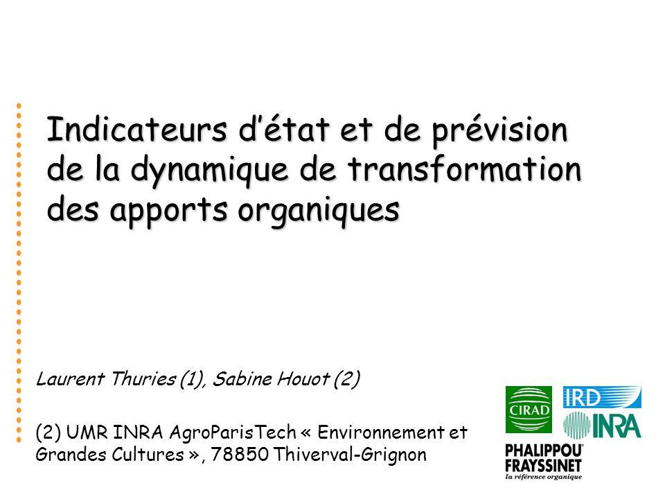 Indicateurs détat et de prévision de la dynamique de transformation des apports organiques Laurent Thuries (1), Sabine Houot (2) (2) UMR INRA AgroParisTech « Environnement et Grandes Cultures », 78850 Thiverval-Grignon