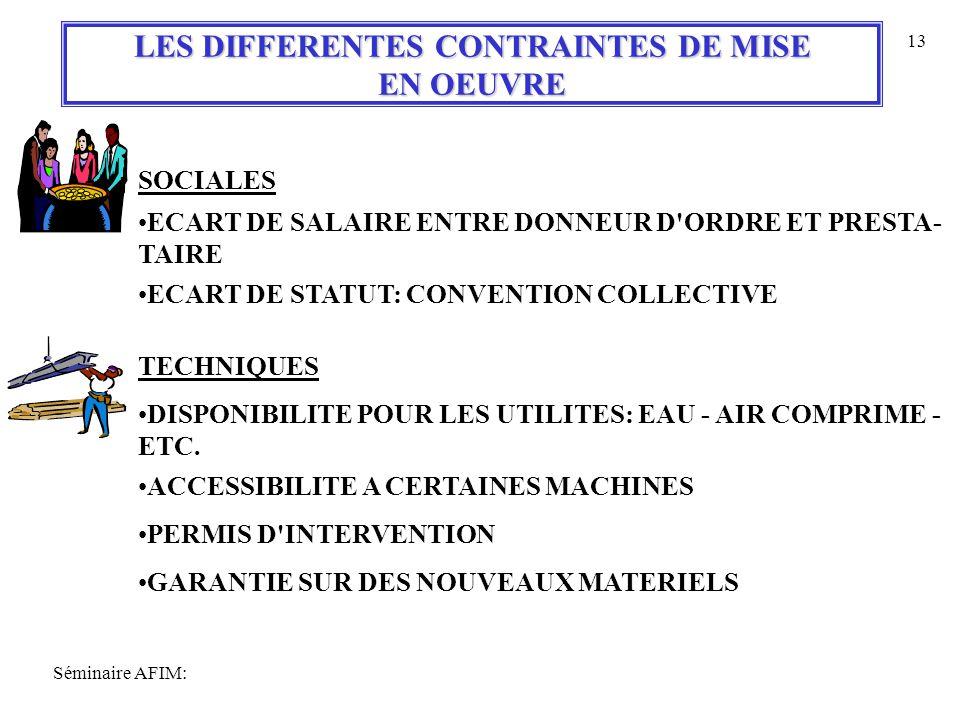 Séminaire AFIM: 13 LES DIFFERENTES CONTRAINTES DE MISE EN OEUVRE SOCIALES ECART DE SALAIRE ENTRE DONNEUR D ORDRE ET PRESTA- TAIRE ECART DE STATUT: CONVENTION COLLECTIVE TECHNIQUES DISPONIBILITE POUR LES UTILITES: EAU - AIR COMPRIME - ETC.