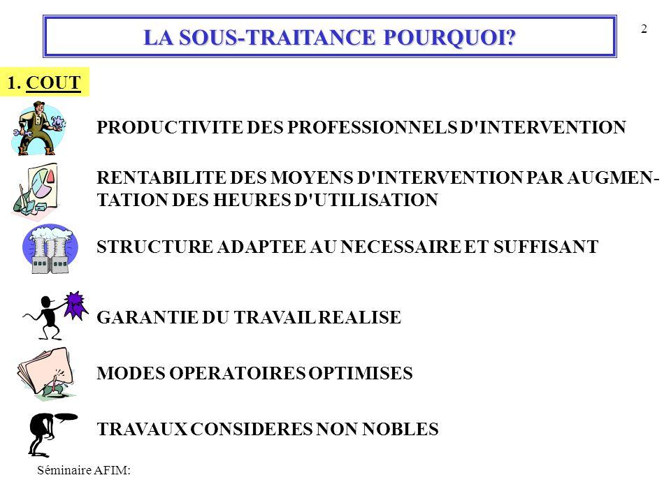 Séminaire AFIM: 2 LA SOUS-TRAITANCE POURQUOI.1.