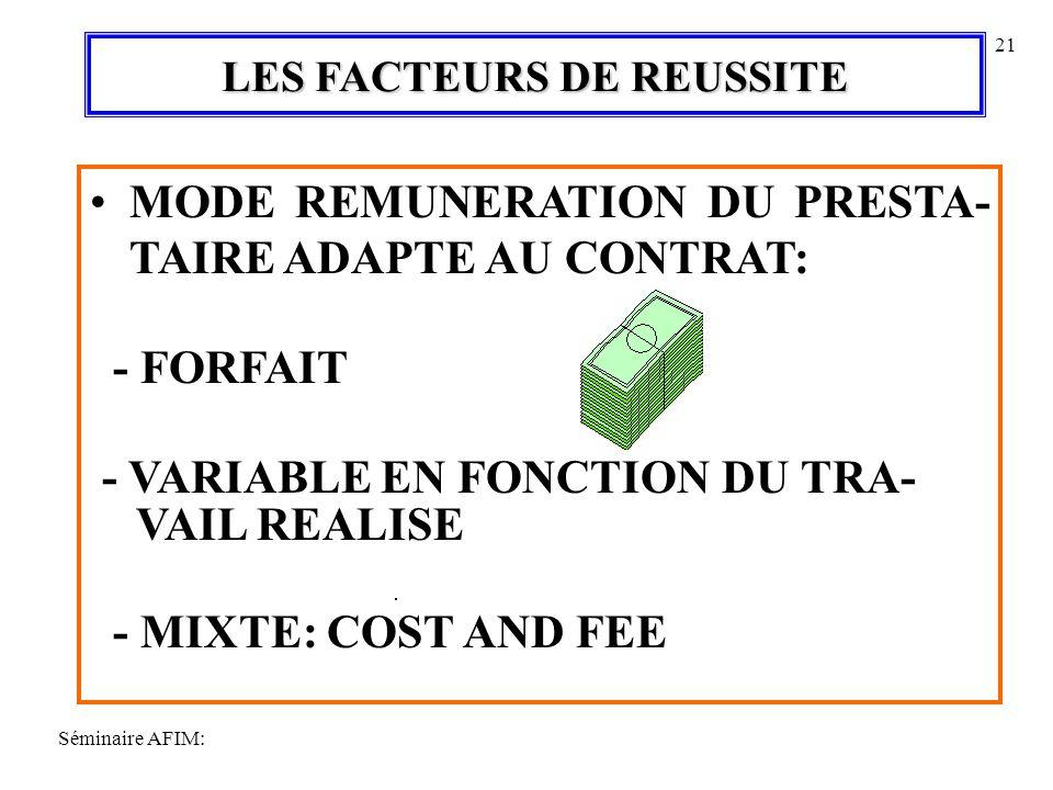 Séminaire AFIM: 21 LES FACTEURS DE REUSSITE MODE REMUNERATION DU PRESTA- TAIRE ADAPTE AU CONTRAT: - FORFAIT - VARIABLE EN FONCTION DU TRA- VAIL REALISE - MIXTE: COST AND FEE