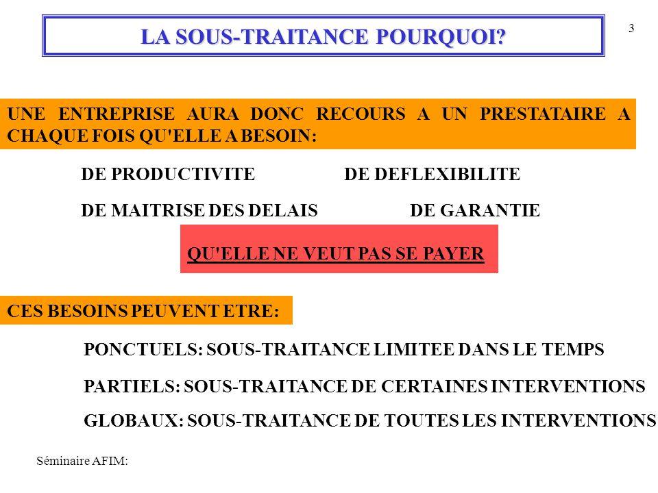Séminaire AFIM: 3 LA SOUS-TRAITANCE POURQUOI.