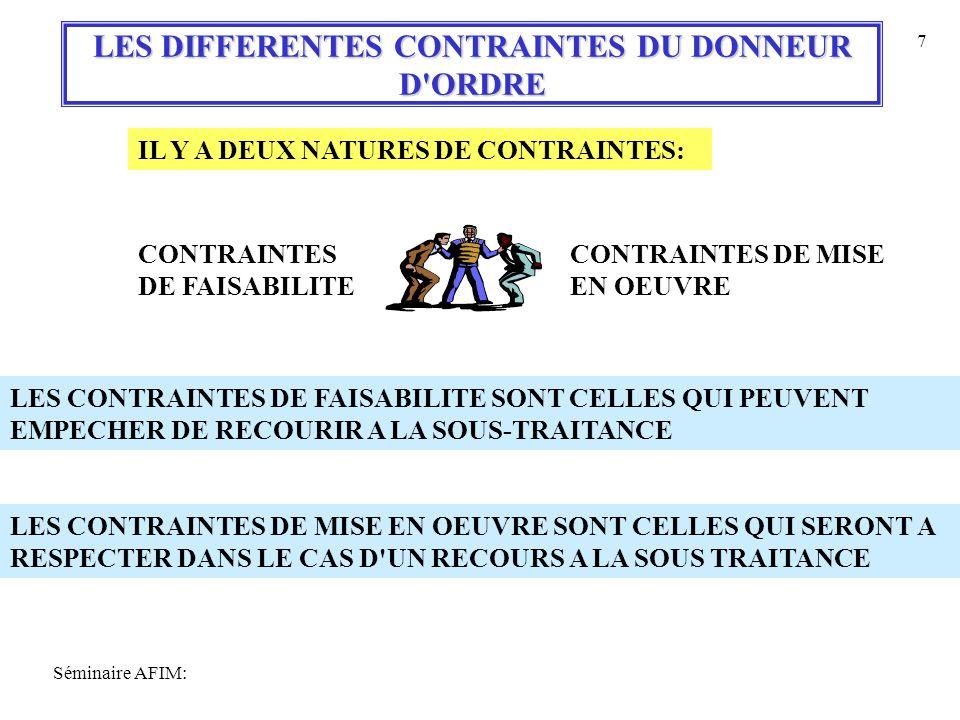 Séminaire AFIM: 7 LES DIFFERENTES CONTRAINTES DU DONNEUR D ORDRE IL Y A DEUX NATURES DE CONTRAINTES: CONTRAINTES DE FAISABILITE CONTRAINTES DE MISE EN OEUVRE LES CONTRAINTES DE FAISABILITE SONT CELLES QUI PEUVENT EMPECHER DE RECOURIR A LA SOUS-TRAITANCE LES CONTRAINTES DE MISE EN OEUVRE SONT CELLES QUI SERONT A RESPECTER DANS LE CAS D UN RECOURS A LA SOUS TRAITANCE