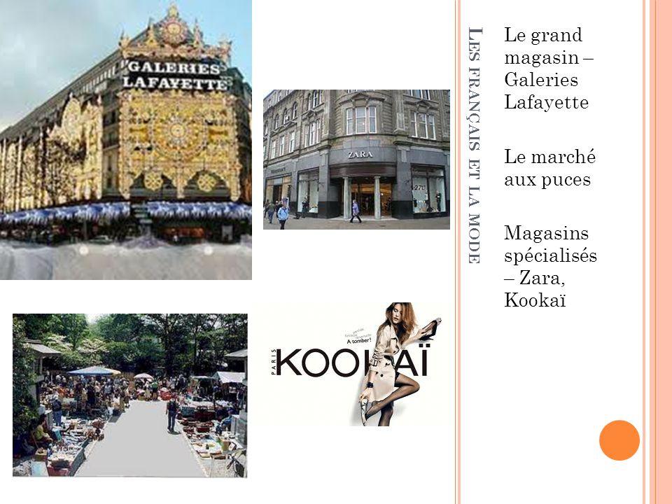 L ES FRANÇAIS ET LA MODE Le grand magasin – Galeries Lafayette Le marché aux puces Magasins spécialisés – Zara, Kookaï
