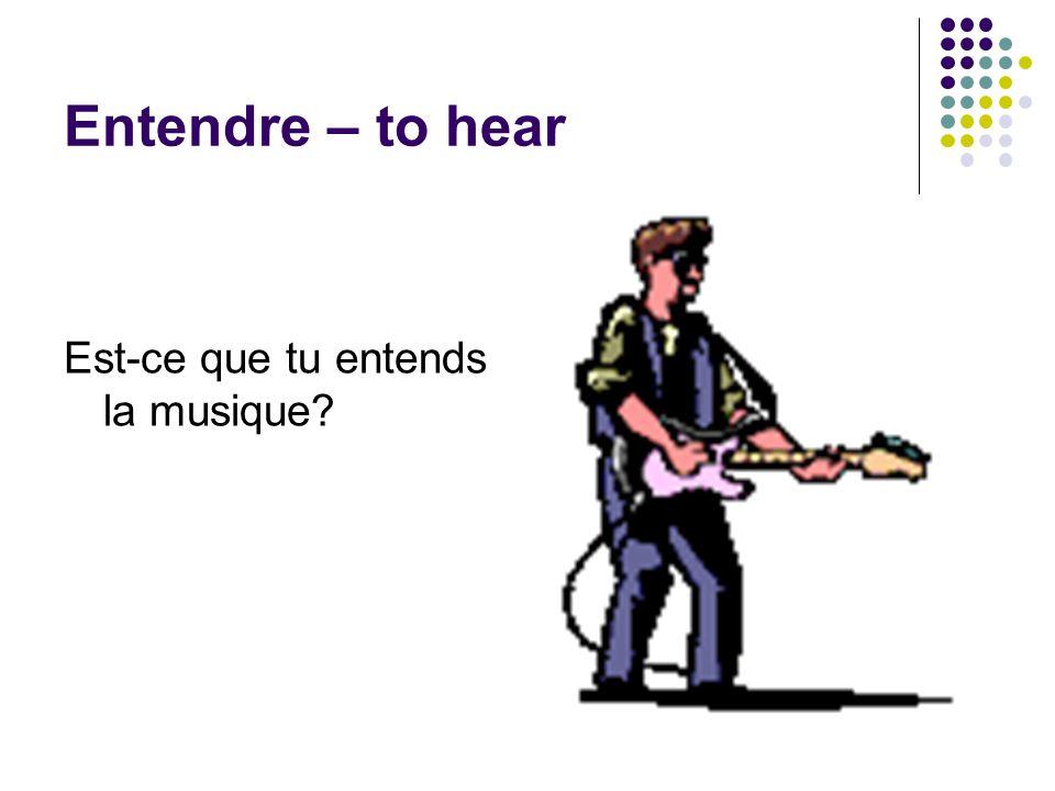 Entendre – to hear Est-ce que tu entends la musique?