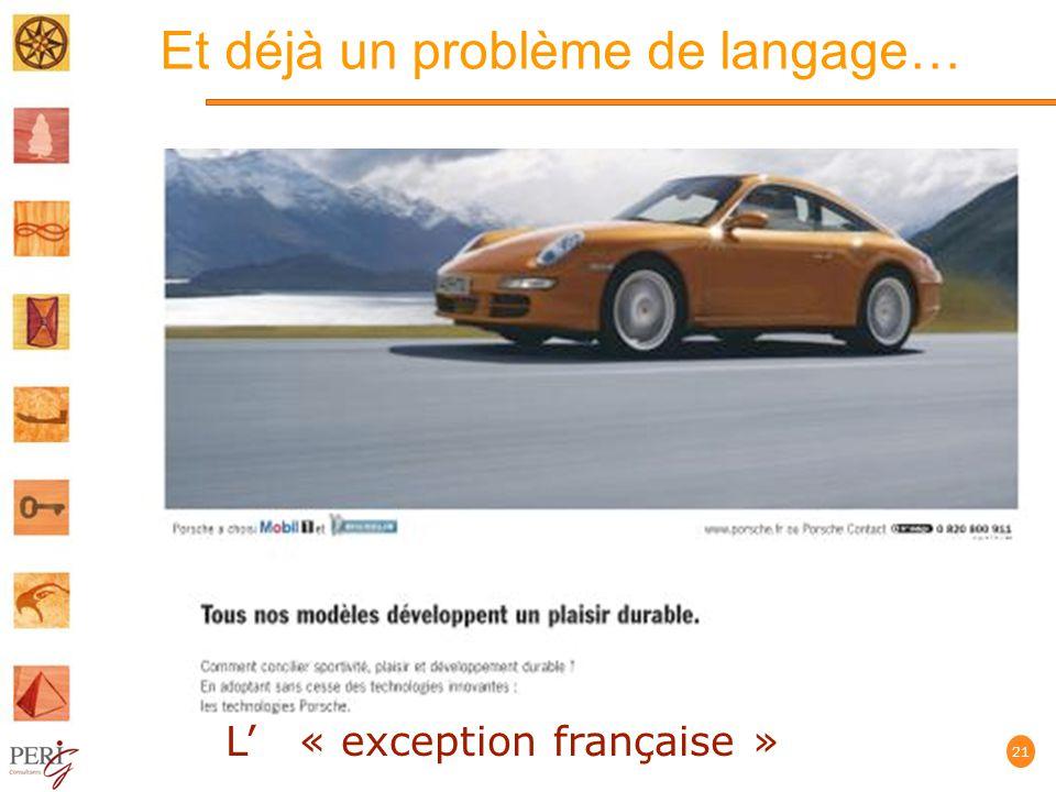 Et déjà un problème de langage… 21 L « exception française »