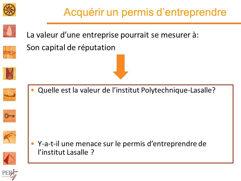 Acquérir un permis dentreprendre La valeur dune entreprise pourrait se mesurer à: Son capital de réputation Quelle est la valeur de linstitut Polytechnique-Lasalle.