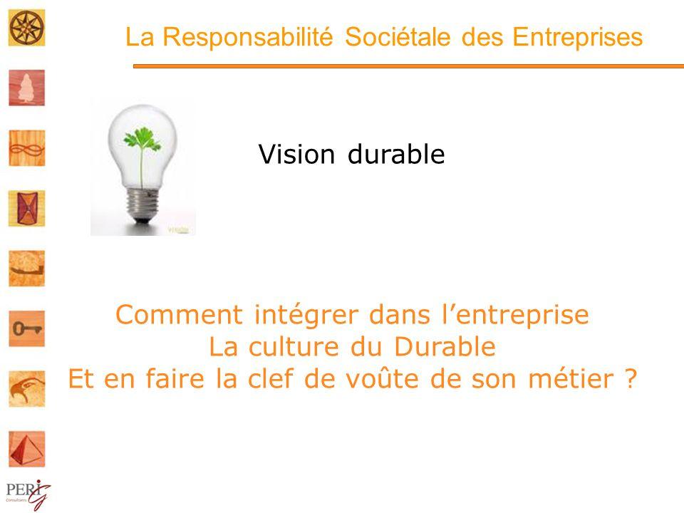 La Responsabilité Sociétale des Entreprises Vision durable Comment intégrer dans lentreprise La culture du Durable Et en faire la clef de voûte de son métier ?