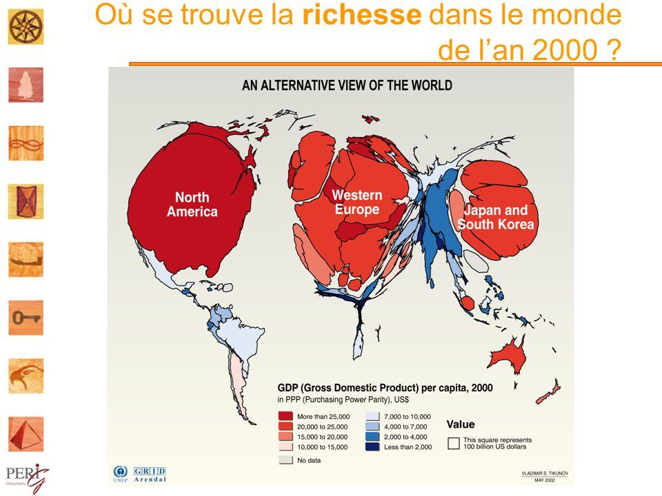Où se trouve la richesse dans le monde de lan 2000 ?