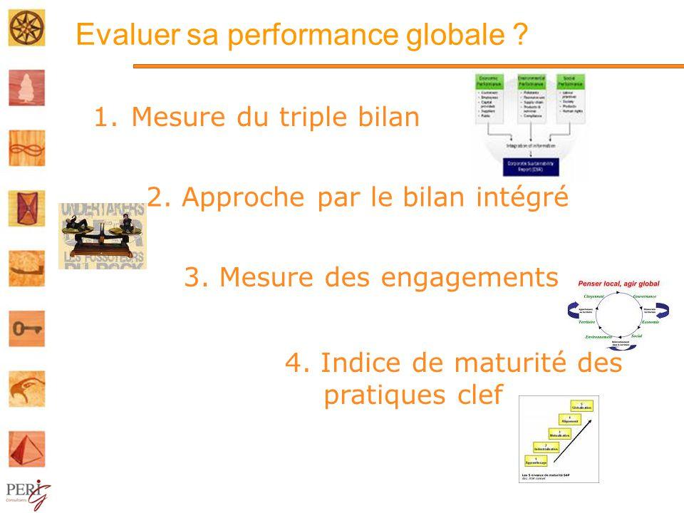 Evaluer sa performance globale .1.Mesure du triple bilan 2.