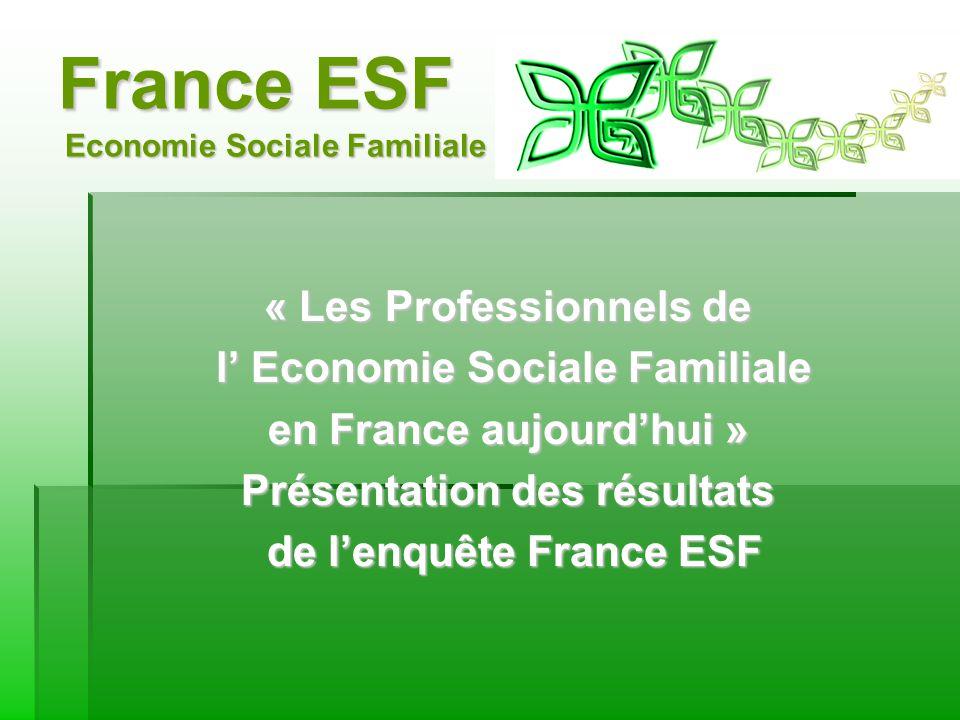 France ESF Economie Sociale Familiale « Les Professionnels de l Economie Sociale Familiale l Economie Sociale Familiale en France aujourdhui » Présentation des résultats de lenquête France ESF de lenquête France ESF