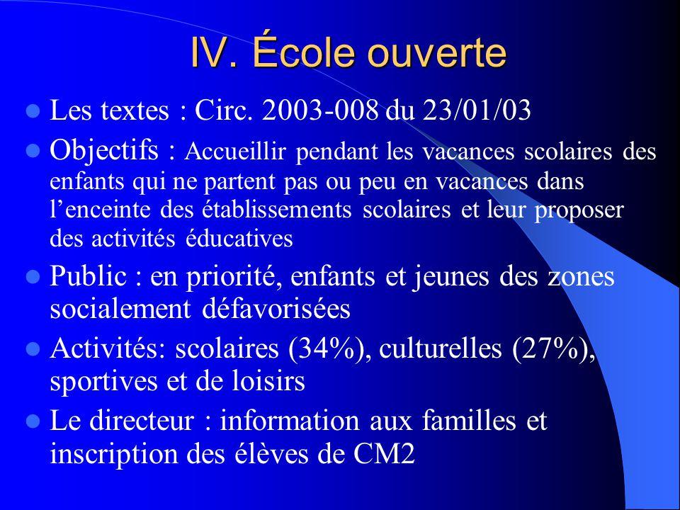 IV. École ouverte Les textes : Circ.