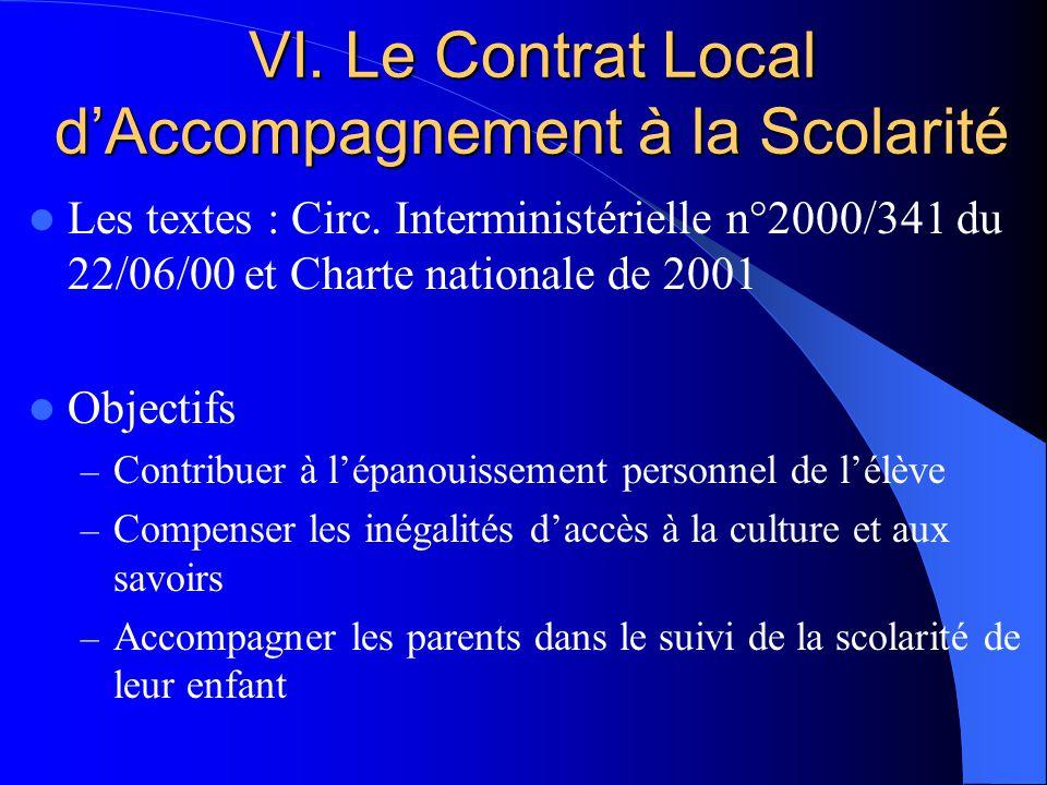 VI. Le Contrat Local dAccompagnement à la Scolarité Les textes : Circ.