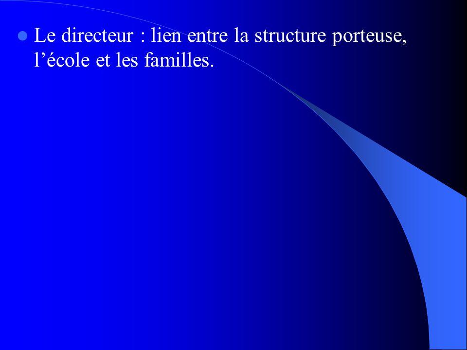 Le directeur : lien entre la structure porteuse, lécole et les familles.