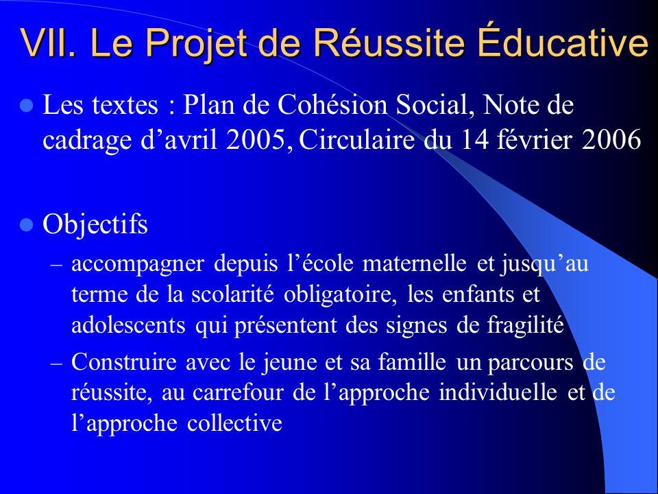 VII. Le Projet de Réussite Éducative Les textes : Plan de Cohésion Social, Note de cadrage davril 2005, Circulaire du 14 février 2006 Objectifs – acco