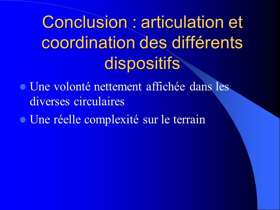 Conclusion : articulation et coordination des différents dispositifs Une volonté nettement affichée dans les diverses circulaires Une réelle complexité sur le terrain