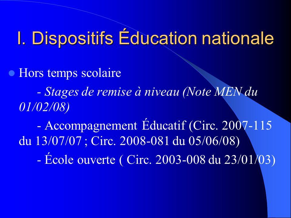 I. Dispositifs Éducation nationale Hors temps scolaire - Stages de remise à niveau (Note MEN du 01/02/08) - Accompagnement Éducatif (Circ. 2007-115 du