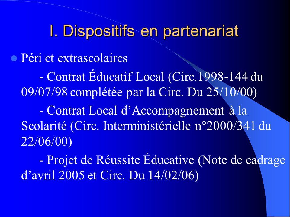 I. Dispositifs en partenariat Péri et extrascolaires - Contrat Éducatif Local (Circ.1998-144 du 09/07/98 complétée par la Circ. Du 25/10/00) - Contrat