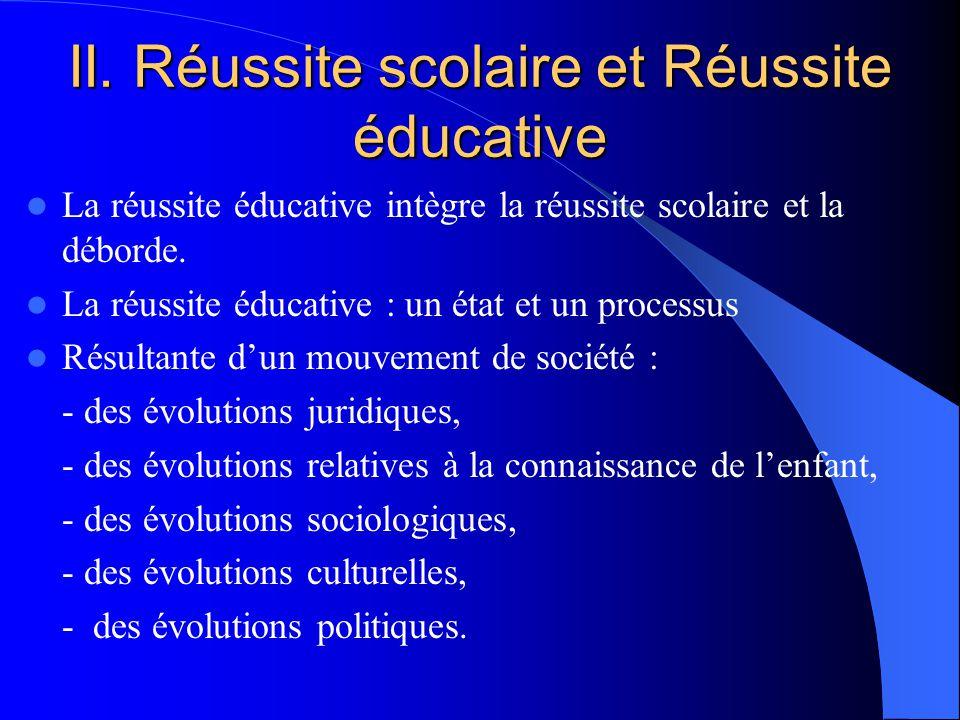 II. Réussite scolaire et Réussite éducative La réussite éducative intègre la réussite scolaire et la déborde. La réussite éducative : un état et un pr