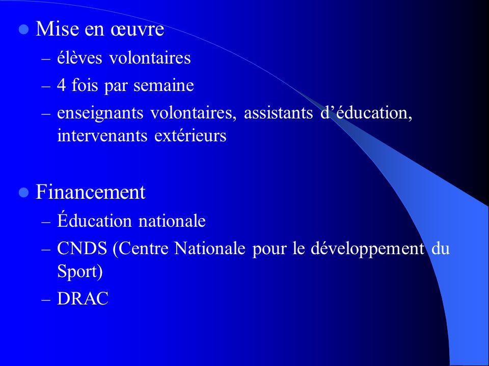 Mise en œuvre – élèves volontaires – 4 fois par semaine – enseignants volontaires, assistants déducation, intervenants extérieurs Financement – Éducation nationale – CNDS (Centre Nationale pour le développement du Sport) – DRAC