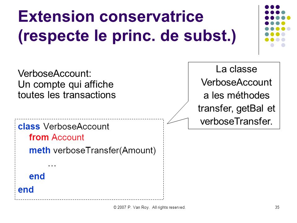 © 2007 P. Van Roy. All rights reserved.35 Extension conservatrice (respecte le princ. de subst.) class VerboseAccount from Account meth verboseTransfe