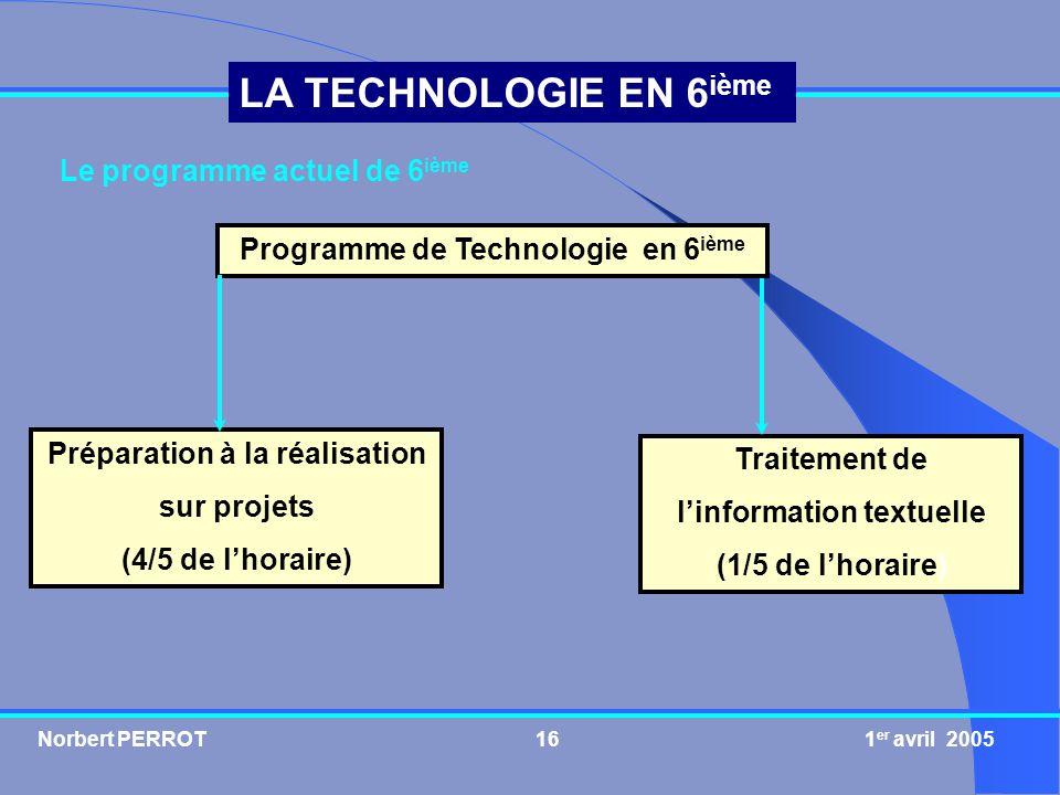 Norbert PERROT 1 er avril 200516 LA TECHNOLOGIE EN 6 ième Le programme actuel de 6 ième Programme de Technologie en 6 ième Préparation à la réalisatio
